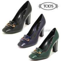 TOD'S Plain Leather Party Style High Heel Pumps & Mules