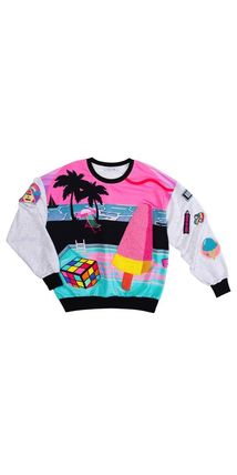 Tropical Patterns Street Style U-Neck Long Sleeves