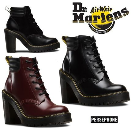 Dr Martens Round Toe Plain Leather 7-9cm Block Heels