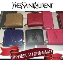Saint Laurent Unisex Plain Leather Folding Wallets