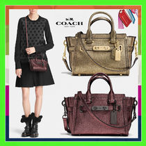 Coach SWAGGER Gold Metallic Pebbled Leather 20 Mini Carryall Bag