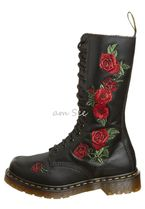 Dr Martens Flower Patterns Round Toe Lace-up Leather Lace-up Boots