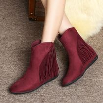 Wedge Suede Plain Fringes Wedge Boots