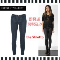 Current Elliott Stripes Street Style Long Skinny Jeans