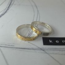 Hammered Gradient to Brass from Silver Ring / Band