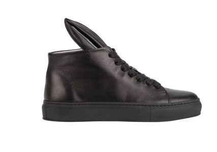 Rubber Sole Unisex Plain Leather Low-Top Sneakers