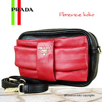 PRADA Black Nappa Leather Shoulder Bag With Red Ribbon