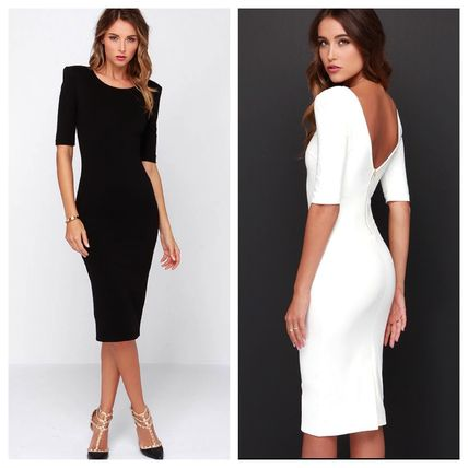 Tight Boat Neck Cropped Plain Medium Party Style Dresses