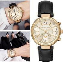 Michael Kors Leather Round Quartz Watches Elegant Style Analog Watches
