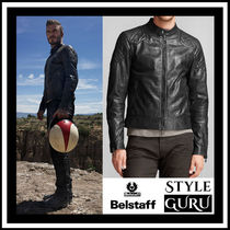 BELSTAFF Short Plain Leather Biker Jackets