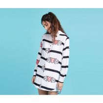 LAZY OAF Stripes Heart Street Style Long Sleeves Long