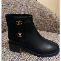 CHANEL Leather Mid Heel Boots