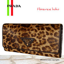 PRADA Leopard Patterns Spawn Skin Long Wallets