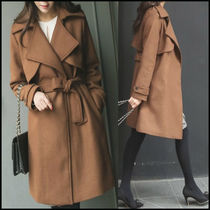 Wool Plain Long Office Style Trench Coats