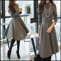 A-line Long Sleeves Plain High-Neck Elegant Style Dresses