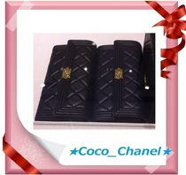 CHANEL BOY CHANEL Lambskin Long Wallets