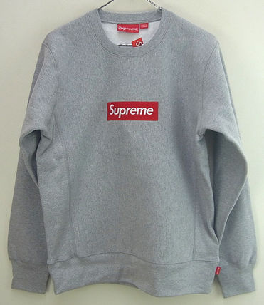 Supreme Crew Neck Pullovers Street Style Long Sleeves Cotton