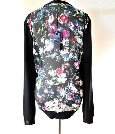 Flower Patterns Wool Long Sleeves Medium Cardigans