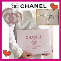 CHANEL DEAUVILLE Pink Medium Clutch Bag