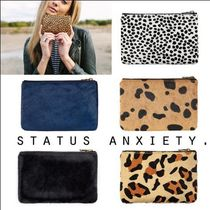 STATUS ANXIETY Leopard Patterns Plain Leather Pouches & Cosmetic Bags