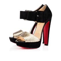 Christian Louboutin Open Toe Platform Suede Bi-color Other Animal Patterns