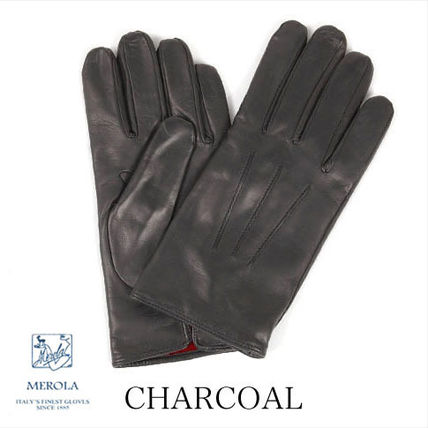 Blended Fabrics Plain Leather Leather & Faux Leather Gloves