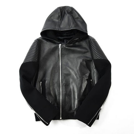 Biker jacket leather blouson loose fit