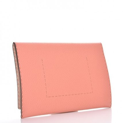 FENDI SELLERIA Bi-color Plain Leather Handmade Elegant Style Clutches