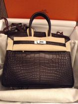 HERMES Birkin Crocodile Plain Leather Handmade Party Style Elegant Style