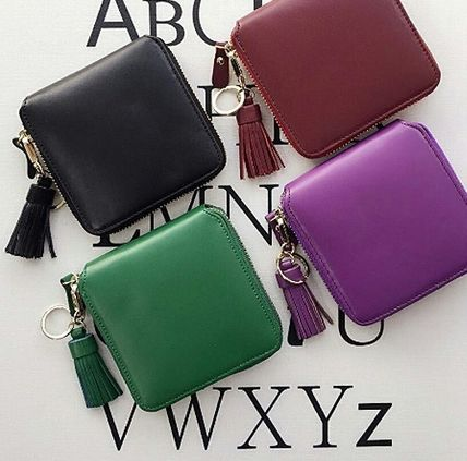 Calfskin Tassel Plain Folding Wallets