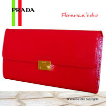 PRADA SAFFIANO VERNICE Saffiano Plain Long Wallets