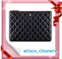 CHANEL Unisex Plain Leather Clutches