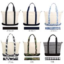 Flower Patterns Canvas Street Style A4 2WAY Plain Totes