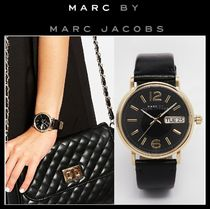 Marc by Marc Jacobs Leather Round Analog Watches