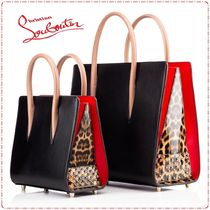 Christian Louboutin Paloma Leopard Patterns Studded A4 2WAY Plain Leather Totes