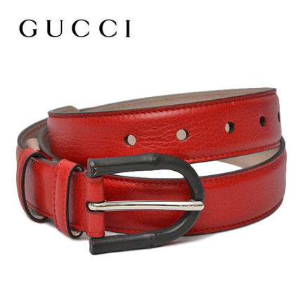 GUCCI Bamboo buckle leather belt RED