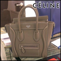 CELINE Luggage Calfskin Plain Shoulder Bags