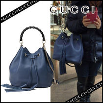 GUCCI Plain Leather Party Style Purses Handbags