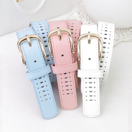 Spring thick belts Pastel-colored hole perforated design