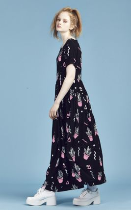 Crew Neck Tropical Patterns Maxi Street Style Long