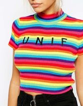 UNIF Clothing Short Stripes Cotton Short Sleeves Party Style Turtlenecks
