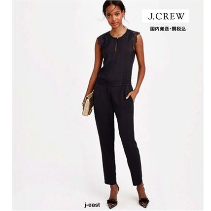 J. CREW DRAPEY OXFORD JUMPSUIT WITH LACE SLEEVES