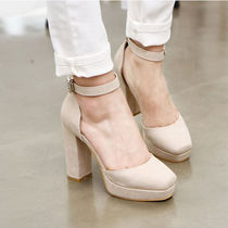 Wedge Round Toe Faux Fur Studded Wedge Pumps & Mules