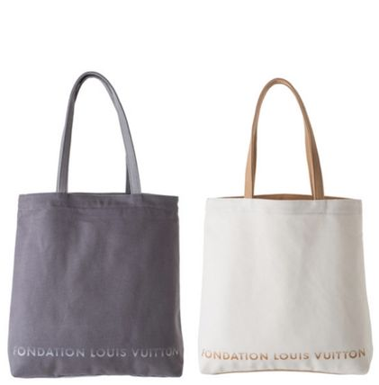 Fondation Louis Vuitton Totes Canvas Tote Bag White Grey