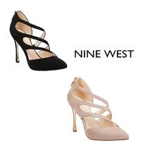 Nine West Suede Plain Pin Heels Office Style Pointed Toe Pumps & Mules