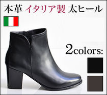 CORSOROMA9 Round Toe Leather Block Heels Ankle & Booties Boots