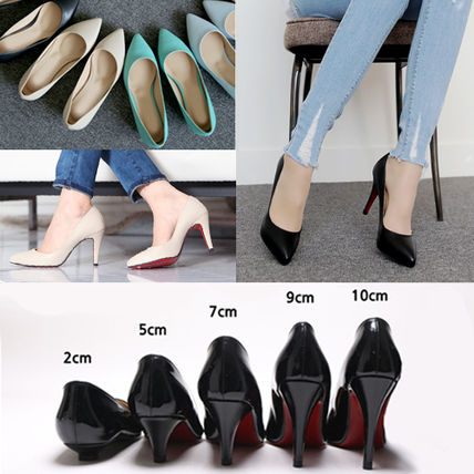Artificial leather pumps heel 4 types