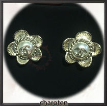 CHANEL ICON Costume Jewelry Blended Fabrics Earrings