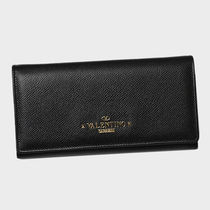 VALENTINO Chain Plain Leather Long Wallets