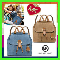 Michael Kors Suede Plain Backpacks